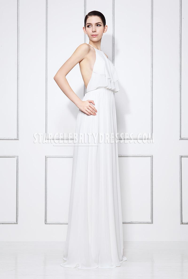 white chiffon halter evening dress