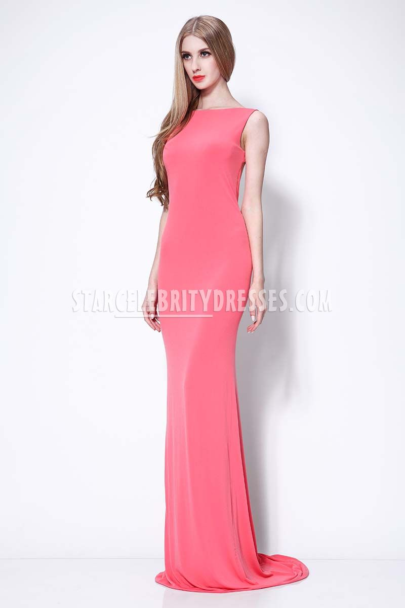 Celebrity Pink Mermaid Evening Dress Bateau Neck Cap