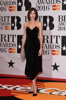 alexa chung vintage black strapless evening prom dress brit awards 2016