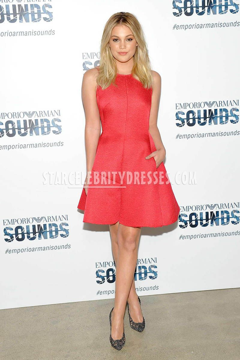olivia holt high fashion short red sweet 16 dress emporio armani sounds 2016