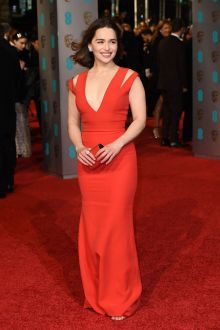 emilia clarke red evening prom mermaid dress british academy film 2016