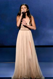 selena gomez champagne tulle celebrity prom dress american music awards