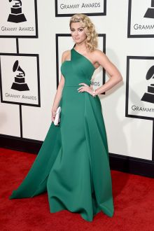 tori kelly green goddess celebrity ball gown prom dress grammys 2016