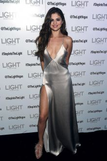 selena gomez plunging and silver sexy celebrity prom dress revival tour