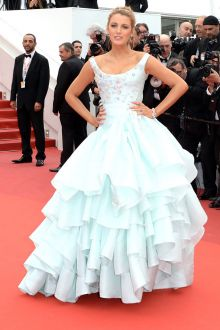 blake lively icy blue prom celebrity ball gown embellished bodice and tiered ball gown skirt at cannes film festival
