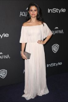 selena gomez elegant chiffon off the shoulder celebrity gown at instyle golden globes afterparty