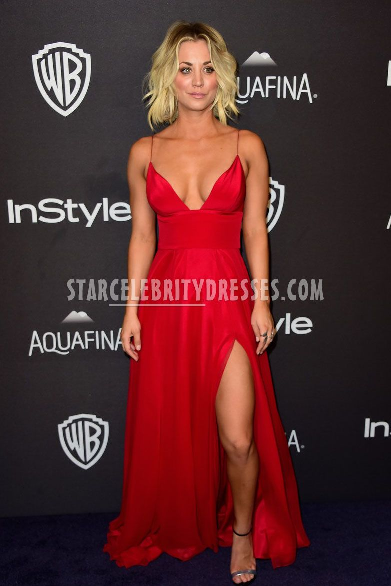 kaley cuoco sexy cleavage baring red carpert dress celebrity 2016 Golden Globes after party