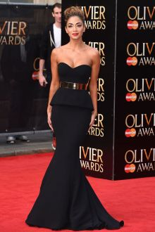 nicole scherzinger black strapless celebrity prom gown gold belt at 2015 olivier awards