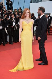 jessica chastain yellow chiffon sweetheart celebrity ball gown at cannes film festival 2016 red carpet