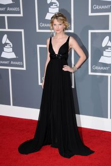 taylor swift black chiffon plunging a line celebrity evening dress grammys 2009