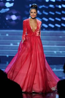 olivia culpo red plunging long sleeve ball gown miss universe 2012 event