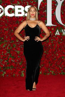 leona lewis black velvet spaghetti strap plus size prom dress tony awards 2016