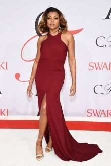 taraji henson burgundy jewel neck mermaid red carpet prom dress cfda 2015