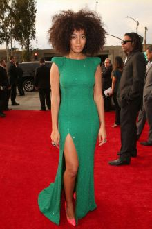 solange knowles green sequin unique long prom dress grammys 2013 red carpet