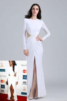 gabrielle union sexy cutout slit white long sleeve prom dress grammy red carpet