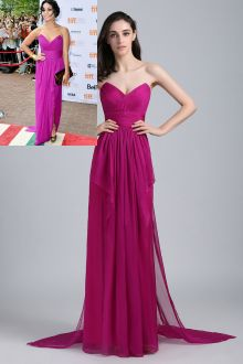 vanessa hudgens fuchsia chiffon long evening bridesmaid dress
