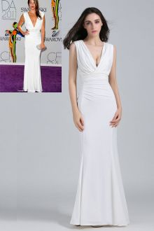 angela bellotte sleeveless plunging white evening formal dress cfda 2011