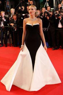 blake lively black and white unique strapless two tone ball gown