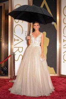 giuliana rancic blush lace tulle pageant prom ball gown oscars 2014 red carpet