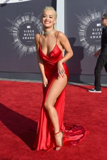 rita ora sexy open back deep v neck red carpet slit prom dress vma 2014