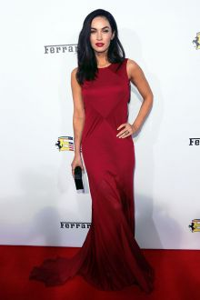 megan fox sleeveless dark red mermaid long evening dress 60th ferrari gala