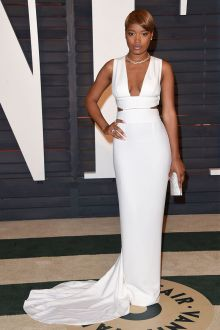 keke palmer white sleeveless plunging semi formal evening prom dress oscar 2015