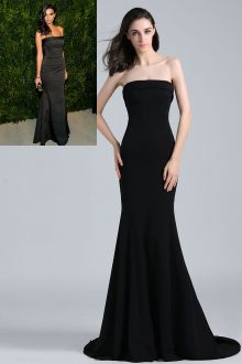 emily ratajkowski simple cheap strapless black satin evening prom dress