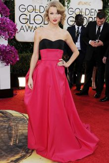 taylor swift unique black fuchsia satin two tone prom dress golden globes 2014