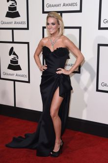 carrie underwood sexy black satin strapless sweetheart prom dress grammys 2016