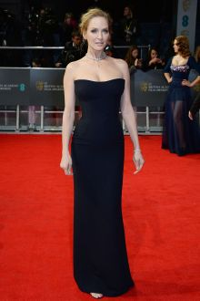 uma thurman simple celebrity black evening dress 2014 bafta red carpet