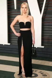 jennifer lawrence black two piece column prom dress vanity fair oscars 2016