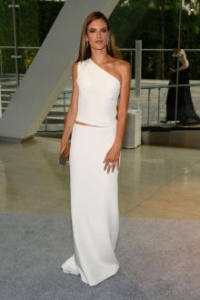 alessandra ambrosio white sexy open back one shoulder prom dress cfda 2013