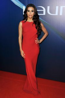 eva longoria red elegant bateau neck evening dress world sports awards 2013