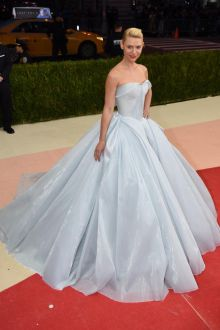 claire danes cute strapless sweetheart baby blue prom ball gown met gala 2016