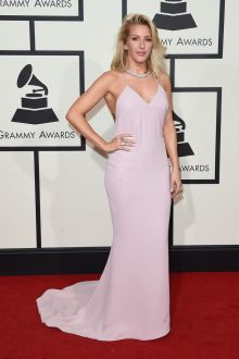 ellie goulding pale pink fit and flare v neck prom dress grammys 2016 red carpet