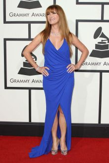 jane seymour cute sexy cobalt blue draped v neck slit prom dress grammys 2016