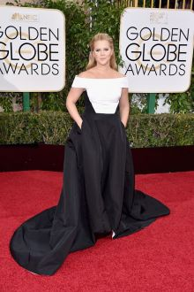 amy schumer black and white satin plus size prom ball gown golden globes 2016