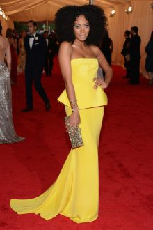 solange knowles chic yellow satin strapless peplum prom dress met ball 2012