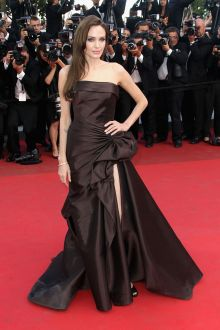 angelina jolie classic chocolate draped satin slit evening prom dress cannes 2011
