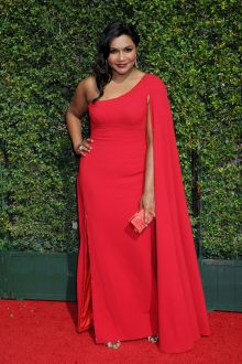 mindy kaling unique red asymmetrical one shoulder cape prom dress emmys 2015
