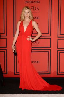 ireland baldwin hot red chiffon v neck fit and flare formal gown cfda 2013