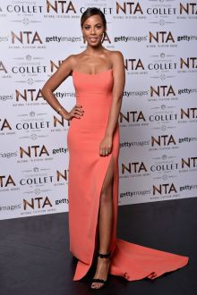 rochelle humes simple strapless peach prom dress national television awards 2016