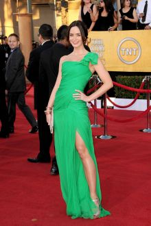 emily blunt traditional green chiffon one shoulder evening prom dress sag 2012