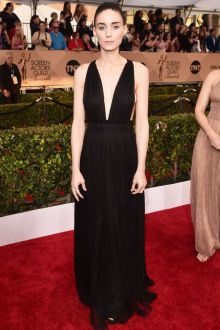rooney mara chic sleeveless plunging black sheer slim evening dress sag 2016