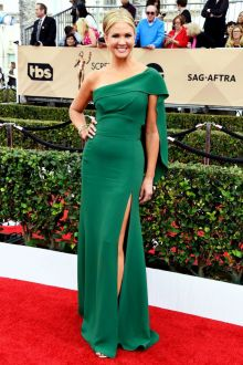 nancy odell classic one shoulder green satin evening prom dress sag 2016