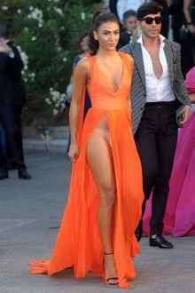 giulia salemi extremely sexy plunging slit prom dress venice film festival 2016