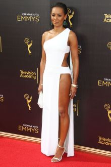 melanie brown sexy white long prom dress creative arts emmys awards 2016