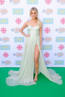 kelsea ballerini sexy aqua chiffon pageant prom dress canadian country music 2016