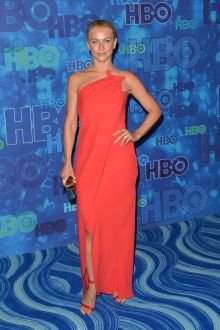 julianne hough cute illusion one shoulder red long prom dress hbo emmys 2016