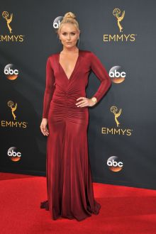 lindsey vonn vintage burgundy jersey long sleeve v neck evening dress emmys 2016